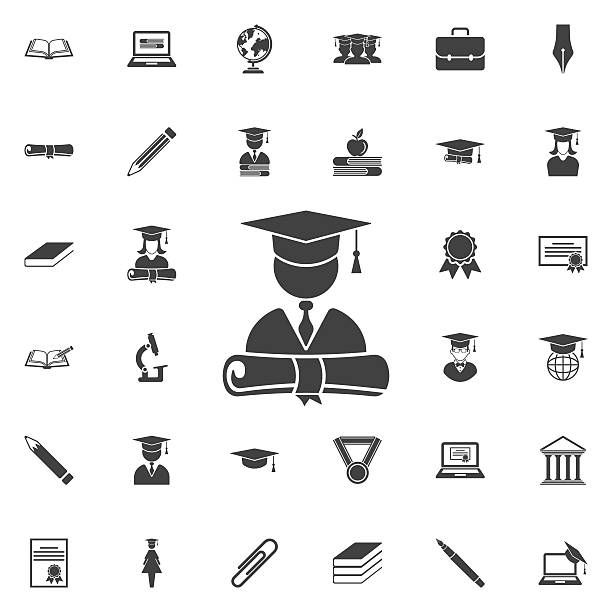 graduation cap and diploma icon - schul  oder uniabschluss stock-grafiken, -clipart, -cartoons und -symbole