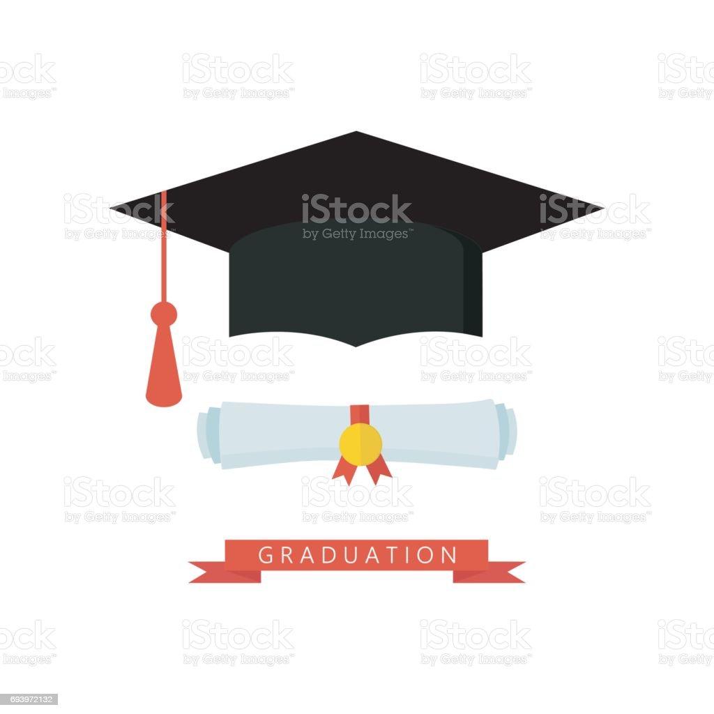 Afstuderen GLB en diploma gerold scroll platte ontwerp pictogram. Afwerking onderwijs symbool. - Royalty-free 18-19 jaar vectorkunst