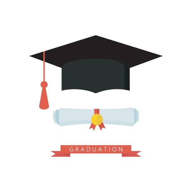 stockillustraties, clipart, cartoons en iconen met afstuderen glb en diploma gerold scroll platte ontwerp pictogram. afwerking onderwijs symbool. - flat cap