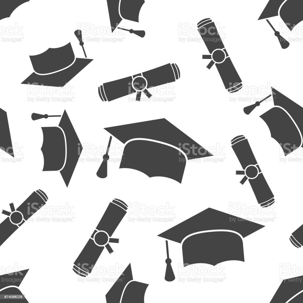 Afstuderen GLB en diploma gerold scroll naadloze patroon achtergrond pictogram. Zakelijke platte vectorillustratie. Afwerking onderwijs teken symbool patroon. - Royalty-free Achtergrond - Thema vectorkunst