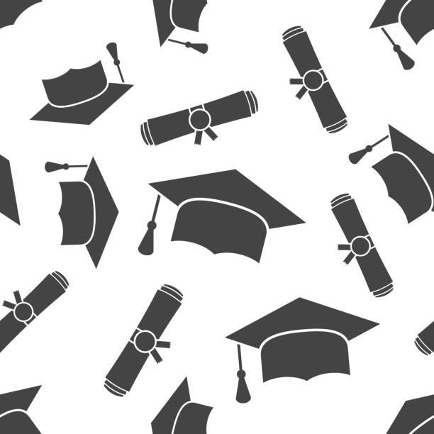 stockillustraties, clipart, cartoons en iconen met afstuderen glb en diploma gerold scroll naadloze patroon achtergrond pictogram. zakelijke platte vectorillustratie. afwerking onderwijs teken symbool patroon. - flat cap