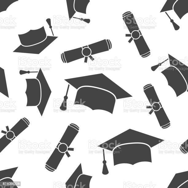 Afstuderen Glb En Diploma Gerold Scroll Naadloze Patroon Achtergrond Pictogram Zakelijke Platte Vectorillustratie Afwerking Onderwijs Teken Symbool Patroon Stockvectorkunst en meer beelden van Achtergrond - Thema