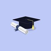 istock graduation cap and diploma scroll icon 1267814463