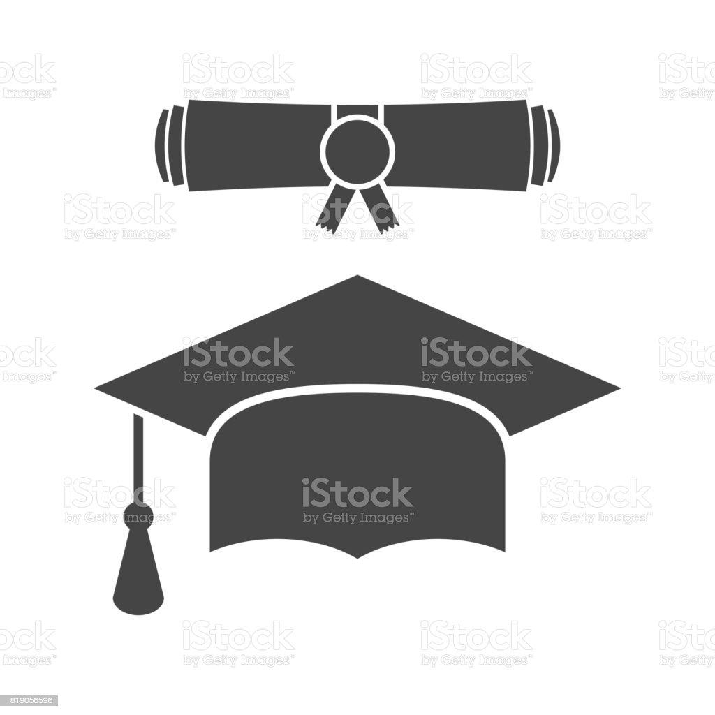 Afstuderen GLB en diploma scroll pictogram vectorillustratie in vlakke stijl. Afwerking onderwijs symbool. Viering element. Zwarte afstuderen cap met diploma op witte achtergrond. - Royalty-free Alumnus vectorkunst