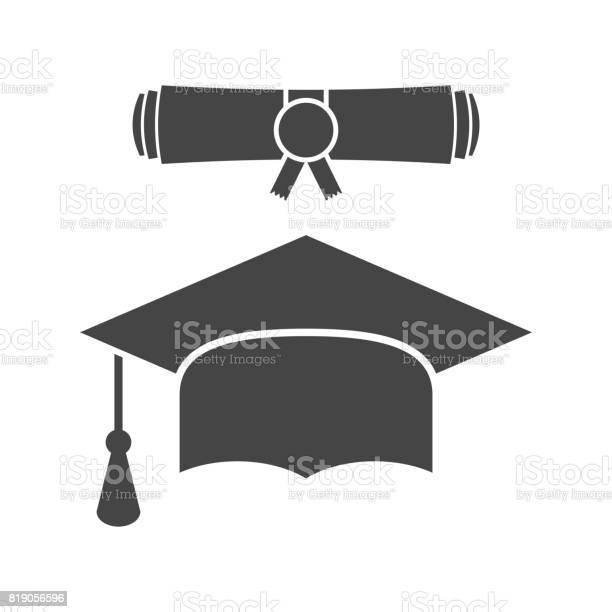 Afstuderen Glb En Diploma Scroll Pictogram Vectorillustratie In Vlakke Stijl Afwerking Onderwijs Symbool Viering Element Zwarte Afstuderen Cap Met Diploma Op Witte Achtergrond Stockvectorkunst en meer beelden van Alumnus