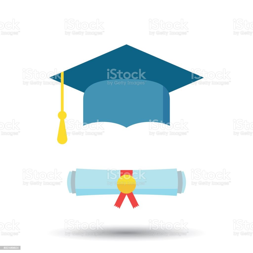 Tampão da graduação e diploma de rolagem icon ilustração vetorial em estilo simples. Símbolo de educação de acabamento. Elemento de celebração. Chapéu de formatura colorido com diploma em fundo branco. - ilustração de arte em vetor