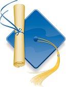 Vector illustration of graduation cap and diploma.