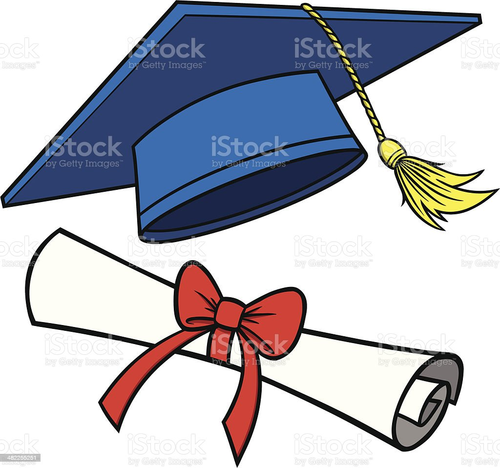 graduation cap and diploma stock vector art more images of rh istockphoto com cap and gown diploma clipart