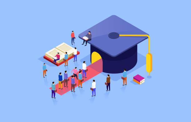 Graduation cap and education vector art illustration