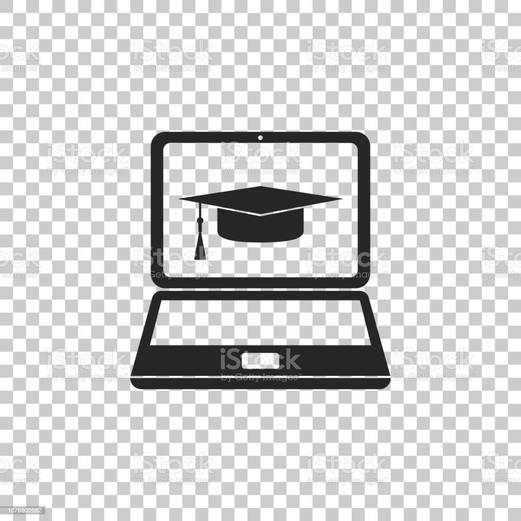 8328ec246 Graduation Cap And Laptop Icon Isolated On Transparent Background ...