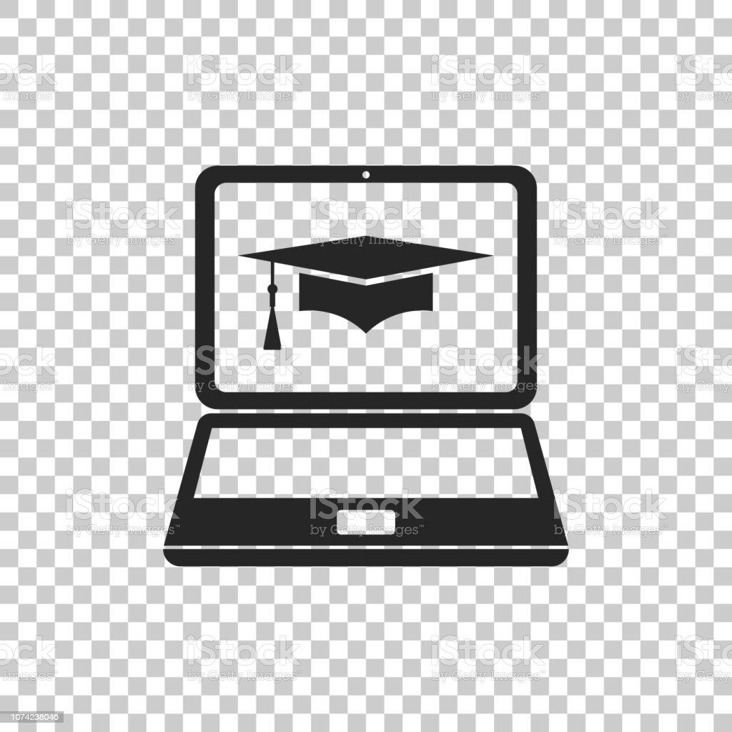 Afstuderen GLB en laptop pictogram. Online leren of e-learning concept pictogram geïsoleerd op transparante achtergrond. Platte ontwerp. Vectorillustratie - Royalty-free Bedrijfsleven vectorkunst