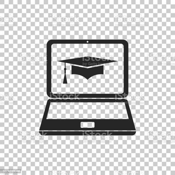 Afstuderen Glb En Laptop Pictogram Online Leren Of Elearning Concept Pictogram Geïsoleerd Op Transparante Achtergrond Platte Ontwerp Vectorillustratie Stockvectorkunst en meer beelden van Bedrijfsleven