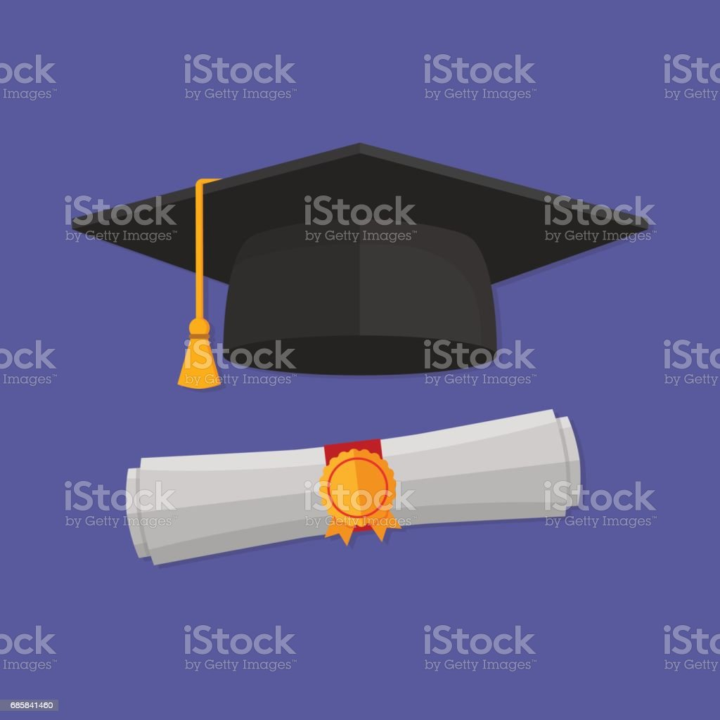 Graduation cap and rolled diploma . Flat style vector art illustration