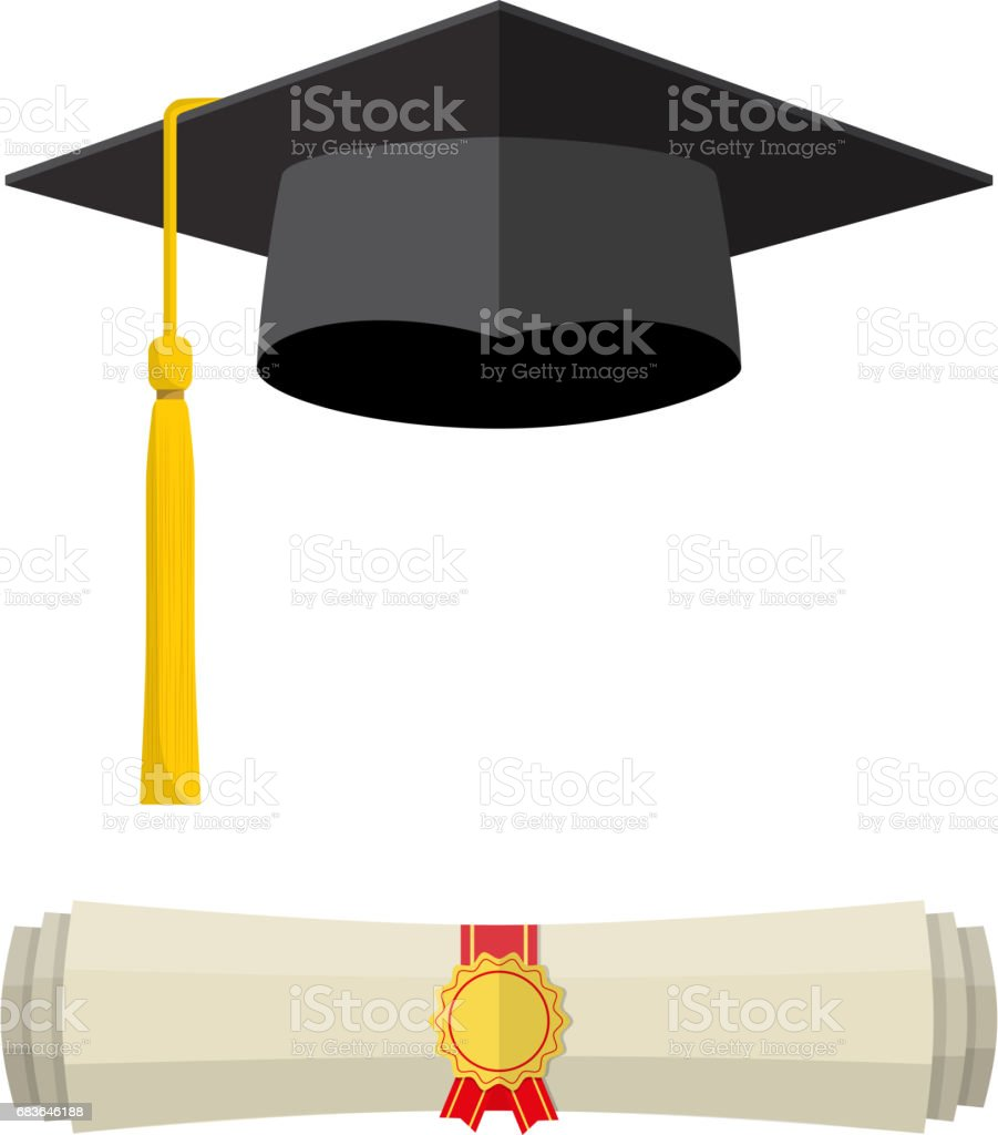 Graduation Cap And Rolled Diploma Scroll Royalty Free