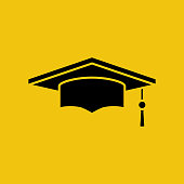 Graduation cap black silhouette isolated on yellow background