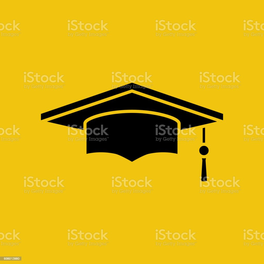 Graduation cap black silhouette isolated on yellow background vector art illustration