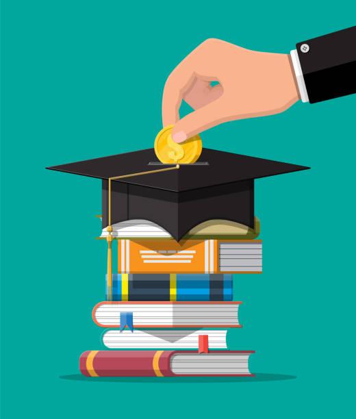 Graduierungsmütze, Buch und Goldmünze – Vektorgrafik
