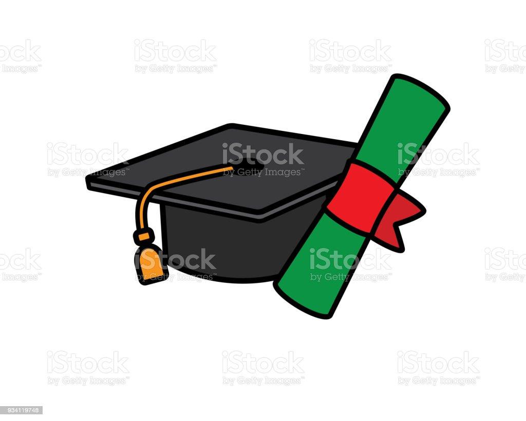 graduation cap cartoon design illustration stock vector art more rh istockphoto com cartoon graduation cap png cartoon graduation cap ideas