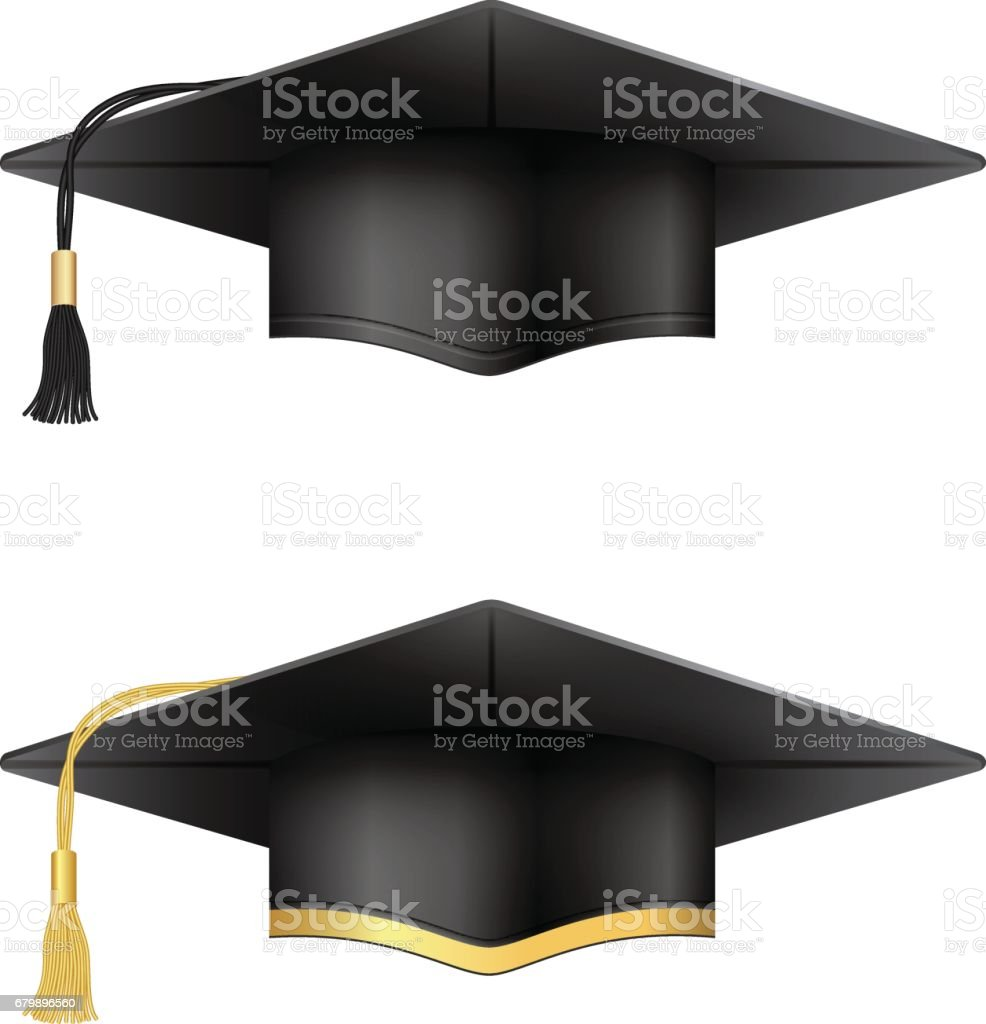 Graduation cap collection. Black and golden variants. vector art illustration