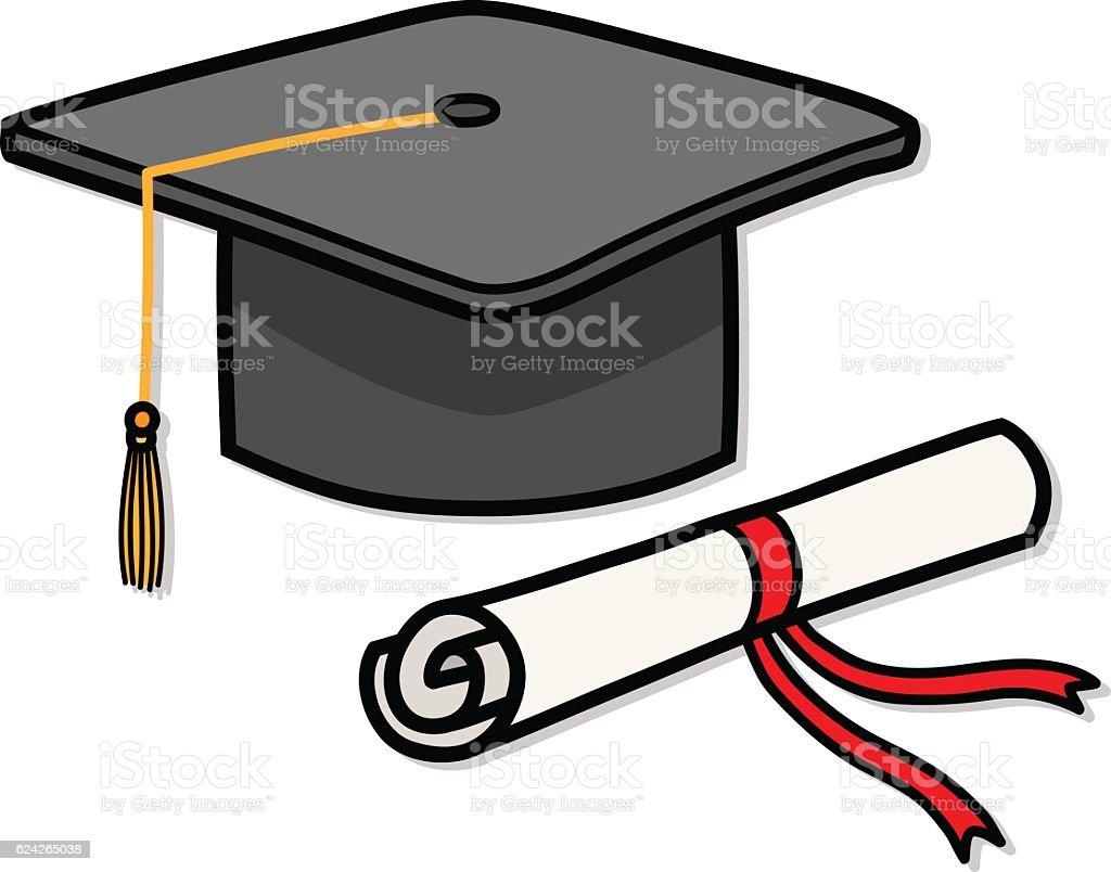 royalty free cartoon of the graduation cap and tassel clip art rh istockphoto com  graduation cap and diploma clipart