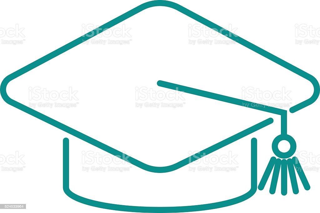 Cappello Diploma Di Laurea Web Icona Di Illustrazione Vettoriale