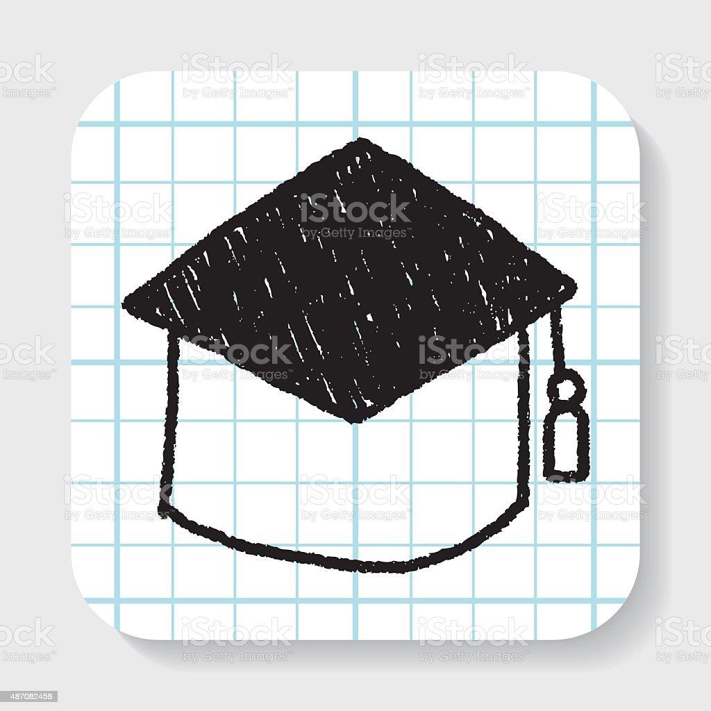 Graduation Cap Doodle Drawing Stock Illustration - Download