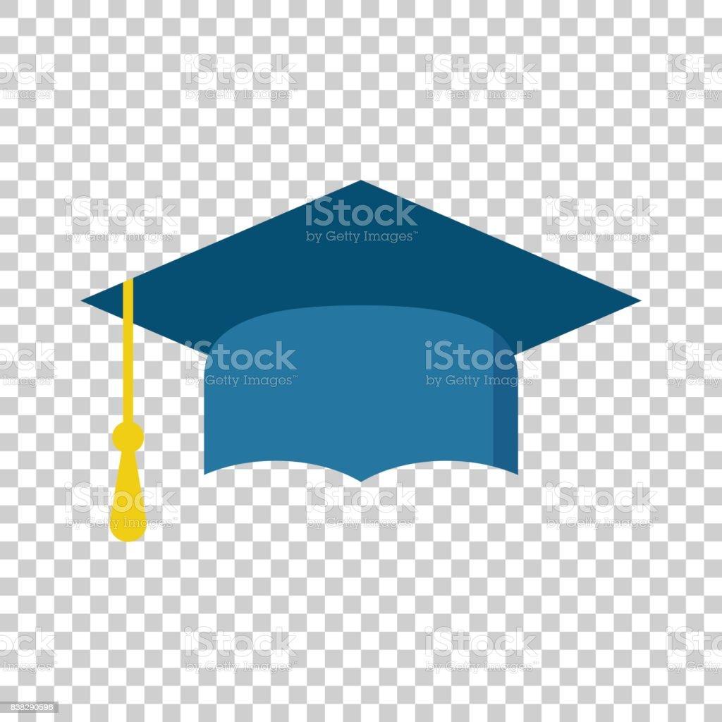 Graduation cap flat design icon. Finish education symbol. Graduation day celebration element. Vector illustration on isolated background. vector art illustration