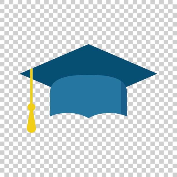 stockillustraties, clipart, cartoons en iconen met afstuderen glb platte ontwerp pictogram. afwerking onderwijs symbool. graduatie dag viering element. vectorillustratie op geïsoleerde achtergrond. - flat cap