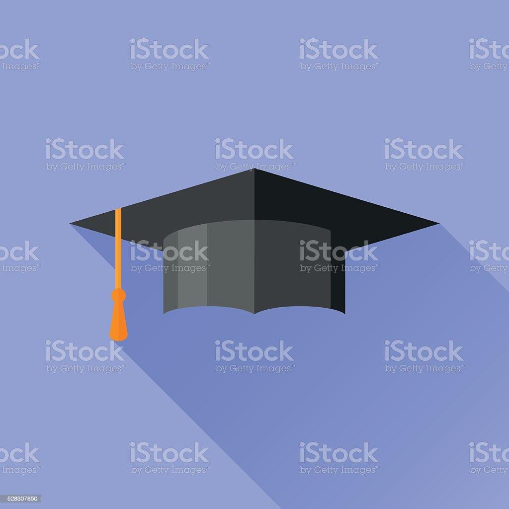 Graduation cap flaches Symbol mit langen Schatten – Vektorgrafik