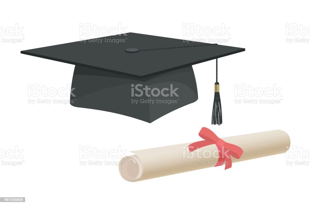 Graduation Cap Hat And Certificate University Academy Diploma College Bachelor Flat Cartoon Royalty Free