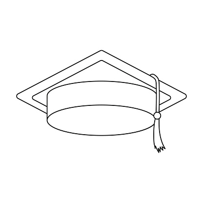 Graduation Cap Icon In Outline Style Isolated On White