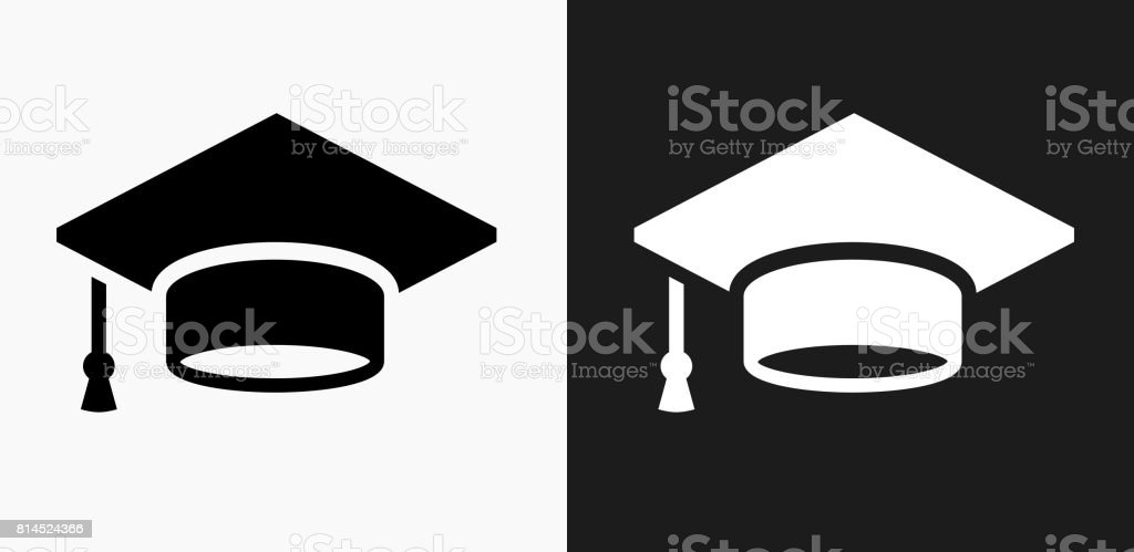 Graduation Cap Icon on Black and White Vector Backgrounds vector art illustration