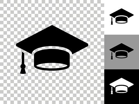 Graduation Cap Icon on Checkerboard Transparent Background