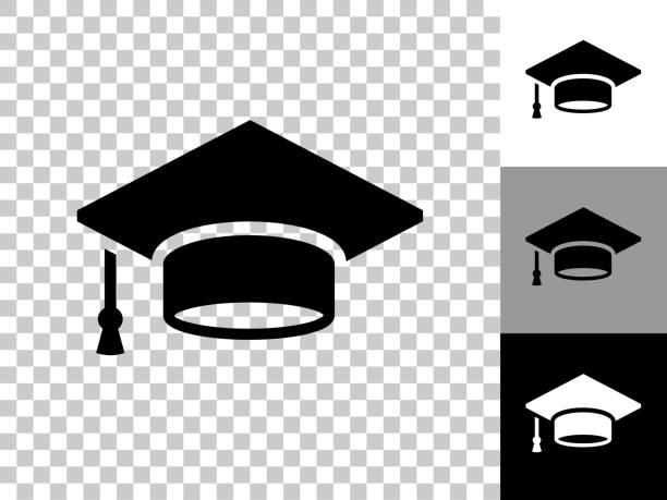 Graduation Cap Icon on Checkerboard Transparent Background vector art illustration