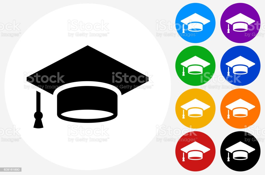 Graduation Cap Icon on Flat Color Circle Buttons - Royalty-free Blauw vectorkunst
