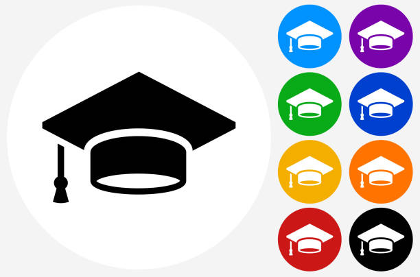 stockillustraties, clipart, cartoons en iconen met graduation cap icon on flat color circle buttons - flat cap