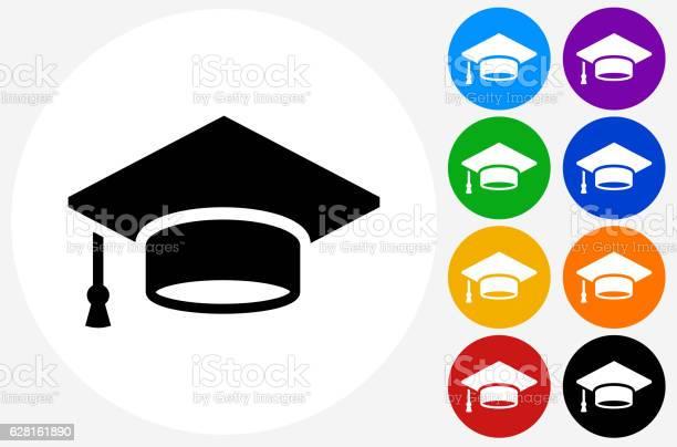Graduation Cap Icon On Flat Color Circle Buttons Stockvectorkunst en meer beelden van Blauw