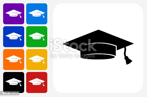 Graduation Cap Icon Square Button Set. The icon is in black on a white square with rounded corners. The are eight alternative button options on the left in purple, blue, navy, green, orange, yellow, black and red colors. The icon is in white against these vibrant backgrounds. The illustration is flat and will work well both online and in print.