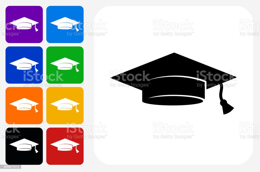 Graduation Cap Icon Square Button Set vector art illustration