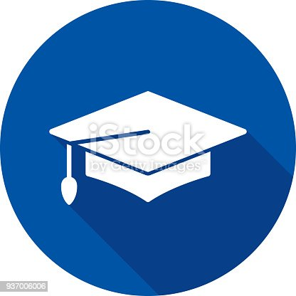 Vector illustration of a blue graduation cap icon in flat style.