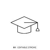 Graduation Cap Icon with Editable Stroke and Pixel Perfect.