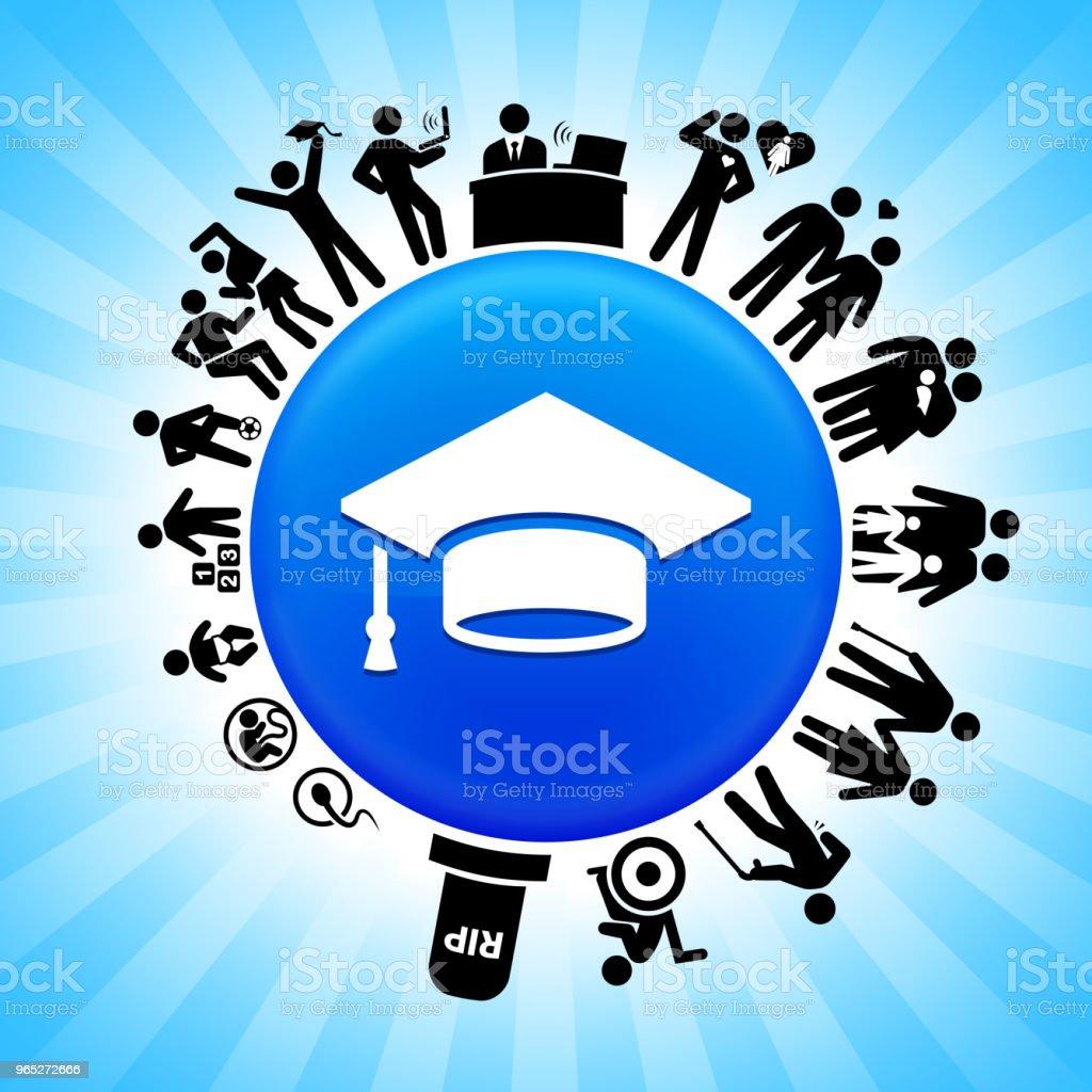 Graduation Cap  Lifecycle Stages of Life Background graduation cap lifecycle stages of life background - stockowe grafiki wektorowe i więcej obrazów adolescencja royalty-free