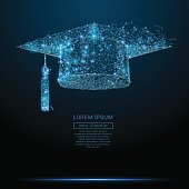 Polygonal Graduation cap. Business concept. Vector mesh spheres from flying debris. Thin line concept. Blue structure style illustration