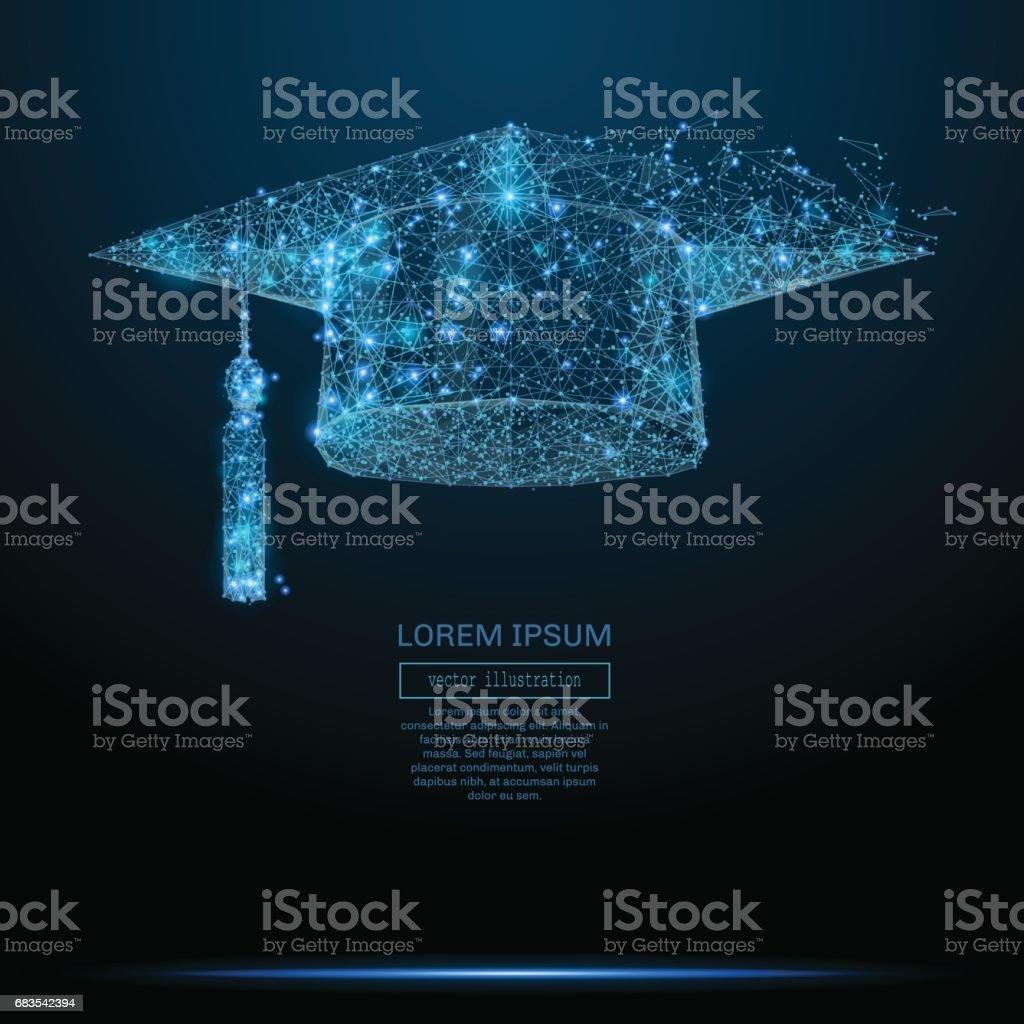 Graduation cap low poly blue vector art illustration