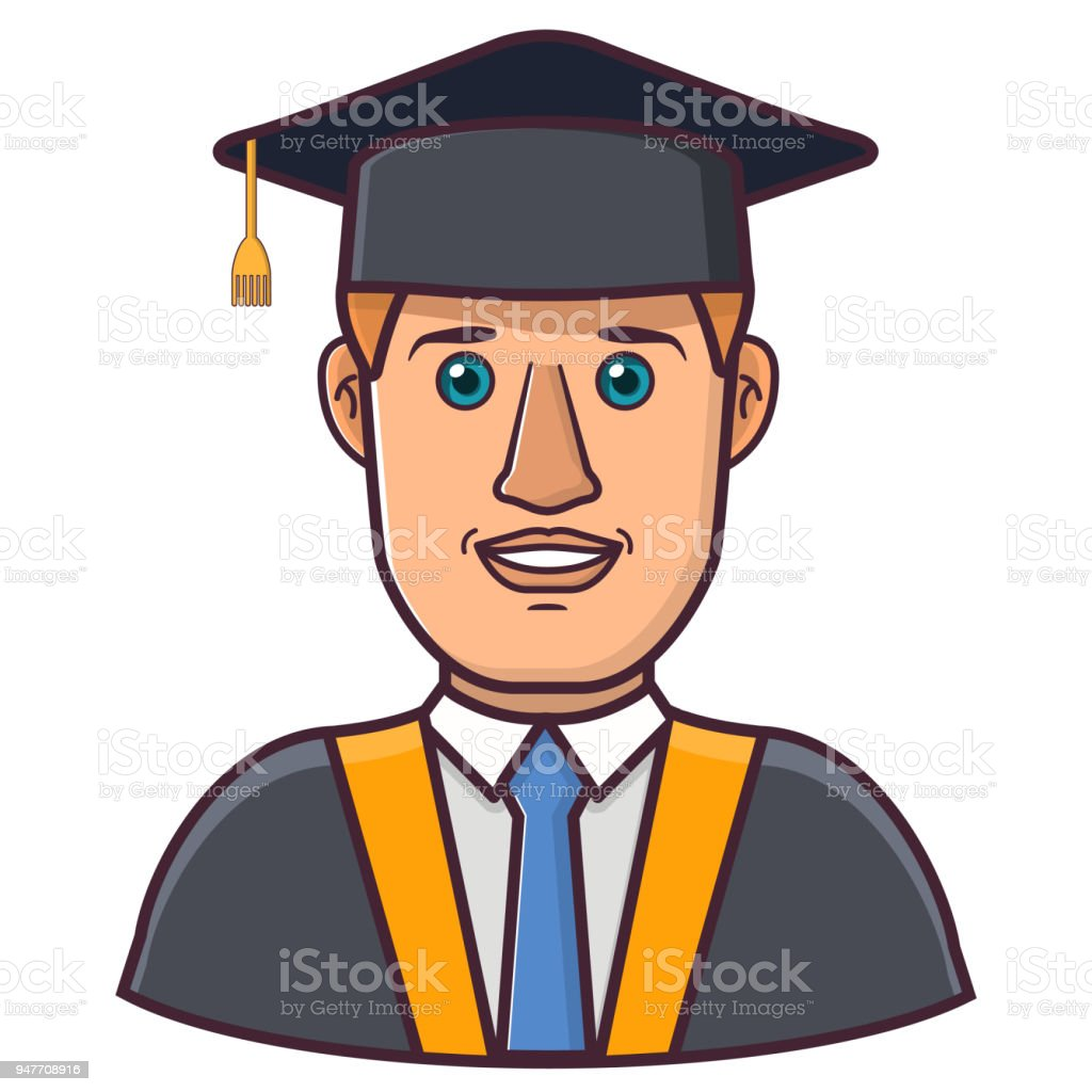 Graduation Cap Man Character Cartoon In Flat Lina Art Vectorsymbol ...