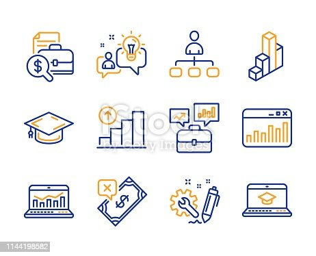 Graduation cap, Management and Engineering icons simple set. 3d chart, Idea and Accounting report signs. Business portfolio, Web analytics and Rejected payment symbols. Line graduation cap icon