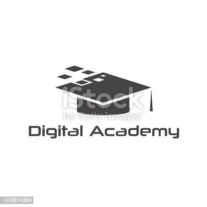 graduation cap of digital academy vector design template stock