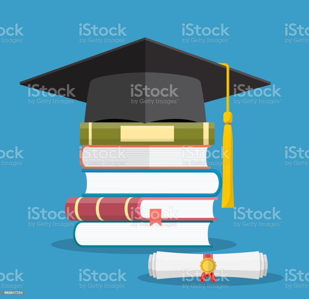Graduation cap on books stacked, vector art illustration