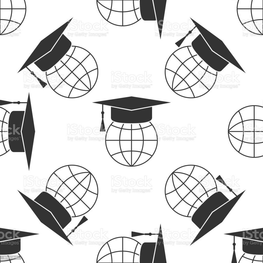 Ilustración de Casquillo De La Graduación En Mundo Icono De Patrones ...