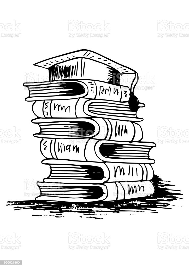 Graduation cap auf Stapel Bücher – Vektorgrafik